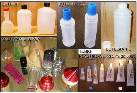 Butelki plastikowe, tubki plastikowe, malowanie szk�a,